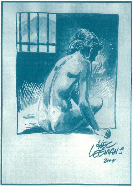Tekening van een naakte vrouw achter de tralies, Hec Leemans voor Veil ze Vrij.