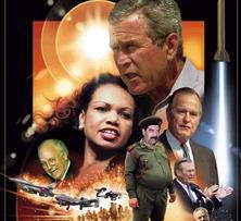 Een cartoon met de hoofdrolspelers in de nieuwe oorlog tegen Irak - een oorlog die zogezegd dient om de mensenrechten te beschermen.