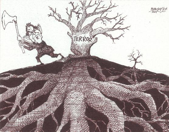 Cartoon over de Britse maatregelen van Tony Blair tegen terreur.